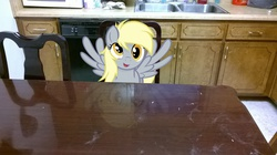 Size: 2592x1456 | Tagged: safe, artist:godoffury, artist:tokkazutara1164, derpy hooves, pegasus, pony, chair, female, irl, kitchen, looking at you, mare, microwave, photo, ponies in real life, reflection, sink, solo, table, vector
