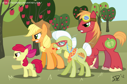 Size: 900x600 | Tagged: safe, artist:tehjadeh, apple bloom, applejack, big macintosh, granny smith, earth pony, pony, apple, apple family, glasses, goggles, male, stallion, sweet apple acres, tree