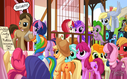Size: 2560x1600   Tagged: safe, artist:mysticalpha, amethyst star, applejack, berry punch, berryshine, big macintosh, bon bon, carrot top, cheerilee, derpy hooves, dj pon-3, doctor whooves, fluttershy, golden harvest, lily, lily valley, lyra heartstrings, octavia melody, pinkie pie, rainbow dash, rarity, roseluck, sparkler, spike, sweetie drops, time turner, twilight sparkle, vinyl scratch, alicorn, dragon, earth pony, pegasus, pony, unicorn, slice of life (episode), background pony, bipedal, cello, dock, female, hilarious in hindsight?, mane seven, mane six, mare, musical instrument, plot, twilight sparkle (alicorn), wallpaper