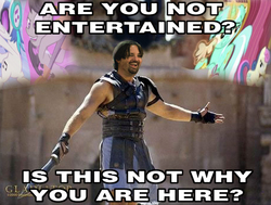Size: 594x448 | Tagged: are you not entertained?, bon bon, caption, dj pon-3, edit, gladiator, image macro, larson you magnificent bastard, lyra heartstrings, m.a. larson, meme, octavia melody, photoshop, safe, screencap, slice of life (episode), sweetie drops, sword, thanks m.a. larson, vinyl scratch, weapon