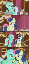 Size: 854x1854 | Tagged: best friends, bon bon, discovery family logo, edit, female, friendship, hug, larson you magnificent bastard, lesbian, lidded eyes, lyrabon, lyra heartstrings, meme, safe, screencap, screencap comic, shipping, slice of life (episode), sweetie drops, thanks m.a. larson