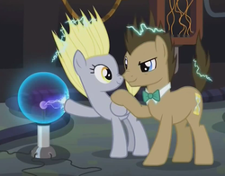 Size: 830x650   Tagged: safe, screencap, derpy hooves, doctor whooves, time turner, earth pony, pegasus, pony, slice of life (episode), cropped, derpy doing derpy things, doctor whooves' lab, duo, electricity, female, male, mare, nose wrinkle, plasma ball, stallion, static, tesla ball