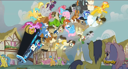 Size: 1907x1035 | Tagged: safe, screencap, ace, aloe, berry punch, berryshine, button mash, carrot cake, comet tail, crafty crate, cup cake, dance fever, davenport, dj pon-3, filthy rich, hayseed turnip truck, hugh jelly, lemon hearts, lotus blossom, matilda, merry may, minuette, octavia melody, pipsqueak, pokey pierce, pound cake, pumpkin cake, rainbowshine, sunshower raindrops, thunderlane, truffle shuffle, vinyl scratch, earth pony, pegasus, pony, unicorn, slice of life (episode), cello, colt, everypony, female, filly, male, mare, musical instrument, necktie, stallion, sunglasses, twilight scepter, wall of tags, wubcart