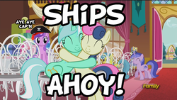 Size: 1920x1080 | Tagged: amethyst star, bon bon, discovery family logo, edit, edited screencap, female, hat, hug, image macro, lemon hearts, lesbian, lyrabon, lyra heartstrings, meme, pirate, pirate hat, ponet, safe, screencap, seafoam, sea swirl, shipper on deck, shipping, slice of life (episode), sparkler, sweetie drops