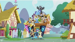 Size: 850x476 | Tagged: safe, screencap, ace, berry punch, berryshine, button mash, crafty crate, dance fever, davenport, dj pon-3, filthy rich, hayseed turnip truck, hugh jelly, minuette, octavia melody, pipsqueak, pokey pierce, sunshower raindrops, thunderlane, vinyl scratch, earth pony, pegasus, pony, unicorn, slice of life (episode), colt, female, filly, liquid button, male, necktie, stallion, sunglasses