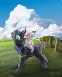 Size: 2500x3107 | Tagged: safe, artist:owlvortex, changeling, crack shipping, cute citizens of wuvy-dovey land, innocent kitten, shipping