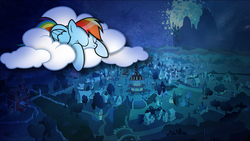 Size: 1920x1080 | Tagged: safe, artist:mrcbleck, artist:templarhappy, rainbow dash, pegasus, pony, canterlot castle, cloud, dark, female, mare, moon, ponyville, sleeping, solo, vector, wallpaper