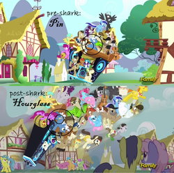 Size: 1598x1586 | Tagged: safe, edit, edited screencap, screencap, ace, aloe, berry punch, berryshine, button mash, carrot cake, comet tail, crafty crate, cup cake, dance fever, davenport, dj pon-3, filthy rich, hayseed turnip truck, hugh jelly, lemon hearts, lotus blossom, matilda, merry may, minuette, octavia melody, perry pierce, pipsqueak, pokey pierce, pound cake, pumpkin cake, rainbowshine, sunshower raindrops, thunderlane, truffle shuffle, vinyl scratch, earth pony, pegasus, pony, unicorn, slice of life (episode), background pony, circled, colt, cutie mark, discovery family, discovery family logo, female, filly, liquid button, male, mare, stallion, third doctor, unnamed pony, wall of tags, wubcart