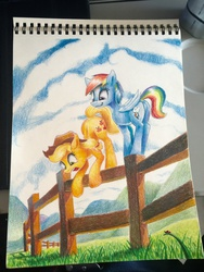 Size: 960x1280 | Tagged: safe, artist:tsitra360, applejack, rainbow dash, earth pony, pegasus, pony, colored pencil drawing, cowboy hat, falling, female, fence, hat, mare, open mouth, scared, smiling, stetson, traditional art