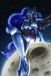 Size: 1000x1500 | Tagged: safe, artist:d-lowell, nightmare moon, anthro, unguligrade anthro, abs, armor, breasts, busty nightmare moon, female, giantess, looking at you, macro, moon, solo, stupid sexy nightmare moon, tangible heavenly object, unconvincing armor