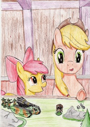 Size: 2454x3474 | Tagged: safe, artist:40kponyguy, derpibooru exclusive, apple bloom, applejack, deathstrike missile launcher, dice, figurine, gaming miniature, guardsman, heavy bolter, imperial guard, lasgun, miniature, traditional art, ursarkar creed, warhammer (game), warhammer 40k