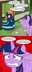 Size: 3656x8268 | Tagged: safe, artist:badumsquish, derpibooru exclusive, twilight sparkle, oc, oc:kalianne, alicorn, lamia, original species, pony, absurd resolution, bowl, comic, cooking, dialogue, egg, egg beater, female, gritted teeth, hilarious in hindsight, implied anon, impossibly long tail, open mouth, raised hoof, scared, smiling, spread wings, terrified, they're just so cheesy, turophobia, twilight sparkle (alicorn), underhoof, wide eyes