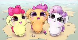 Size: 4020x2087   Tagged: safe, artist:sverre93, apple bloom, scootaloo, sweetie belle, earth pony, pegasus, pony, unicorn, :3, :d, adorabloom, blushing, chibi, cute, cutealoo, cutie mark crusaders, cutie mark cuties, daaaaaaaaaaaw, diabetes, diasweetes, female, filly, flower, fluffy, hnnng, small horn, sverre is trying to murder us, weapons-grade cute, you are already dead