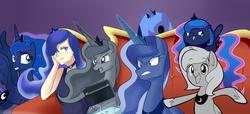 Size: 2477x1131 | Tagged: artist:sallymon, best pony, best princess, black sclera, blob, calendar of lunas, chubbie, filly, gamer luna, human, humanized, light skin, loony luna, moonstuck, multeity, princess luna, s1 luna, safe, too many lunas, tumblr ponidox, woona