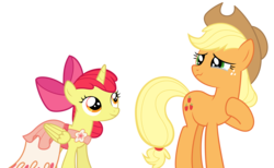Size: 1950x1200 | Tagged: safe, artist:tizerfiction, apple bloom, applejack, alicorn, pony, bloomicorn, clothes, crying, dress, race swap, simple background, transparent background, vector