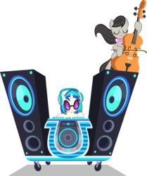Size: 5000x5992 | Tagged: safe, artist:starlessnight22, dj pon-3, octavia melody, vinyl scratch, earth pony, pony, unicorn, slice of life (episode), absurd resolution, bipedal, bowtie, cello, eyes closed, female, headphones, hooves, horn, mare, musical instrument, simple background, sunglasses, transparent background, vector, wubcart