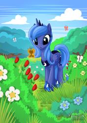 Size: 1162x1643   Tagged: safe, artist:mysticalpha, princess luna, alicorn, butterfly, pony, cloud, cute, female, flower, grass, lunabetes, mare, s1 luna, sky, solo, tree