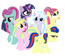 Size: 713x617 | Tagged: safe, artist:berrypunchrules, indigo zap, lemon zest, sci-twi, sour sweet, sugarcoat, sunny flare, twilight sparkle, equestria girls, friendship games, crystal prep academy, crystal prep shadowbolts, equestria girls ponified, glasses, group picture, ponified, shadow six, unicorn sci-twi
