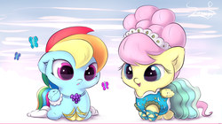 Size: 5685x3190 | Tagged: safe, artist:sverre93, fluttershy, rainbow dash, butterfly, pegasus, pony, absurd resolution, alternate hairstyle, baby, baby pony, cheek fluff, chibi, clothes, cloud, colored pupils, cute, daaaaaaaaaaaw, dashabetes, dress, duo, duo female, ear fluff, featured image, female, floppy ears, fluffy, frown, gala dress, hnnng, lipstick, looking at something, mare, modelshy, open mouth, open smile, shyabetes, sitting, smiling, sverre is trying to murder us, underhoof, weapons-grade cute, wing fluff