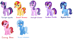 Size: 7920x4248 | Tagged: safe, artist:thecheeseburger, starlight glimmer, sunset shimmer, trixie, twilight sparkle, oc, alicorn, pony, unicorn, :i, absurd resolution, counterparts, magical quartet, name, one of these things is not like the others, simple background, stellar similarities, transparent background, twilight sparkle (alicorn), twilight's counterparts