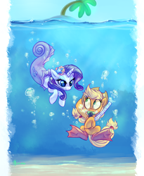 Size: 1800x2200 | Tagged: safe, artist:whitediamonds, applejack, rarity, earth pony, mermaid, merpony, pony, unicorn, bedroom eyes, bubble, diving, female, fins, flippers, hat, lesbian, looking at each other, mare, mermaidized, on melancholy hill, rarijack, rarijack daily, shipping, smiling, snorkel, species swap, underwater, wide eyes