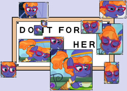 Size: 1400x1000 | Tagged: safe, frazzle rock, princess spike (episode), :o, do it for her, eyes closed, freckles, frown, glasses, grin, meme, open mouth, smiling
