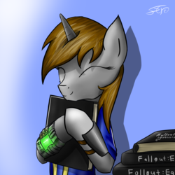 Size: 1140x1140 | Tagged: safe, oc, oc only, oc:littlepip, pony, unicorn, fallout equestria, book, clothes, eyes closed, fanfic, fanfic art, female, gradient background, hooves, horn, mare, pipbuck, smiling, solo, vault suit