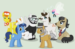 Size: 3395x2213 | Tagged: safe, artist:punzil504, carrot cake, filthy rich, hondo flanks, igneous rock pie, night light, nightjar, seabreeze, breezie, father, father's day
