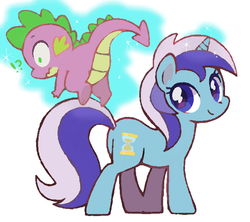 Size: 630x560 | Tagged: safe, artist:tsukisayu, minuette, spike, female, levitation, male, shipping, spigate, straight