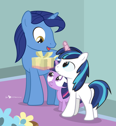 Size: 900x975   Tagged: safe, artist:dm29, night light, shining armor, twilight sparkle, 5-year-old, colt, colt shining armor, equestria's best father, father's day, filly, male, present, trio, twily, younger