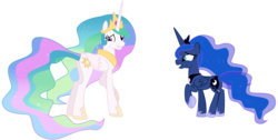 Size: 9000x4529   Tagged: safe, artist:alicornoverlord, princess celestia, princess luna, slice of life (episode), .ai available, .svg available, absurd resolution, forced smile, grin, raised hoof, simple background, transparent background, vector