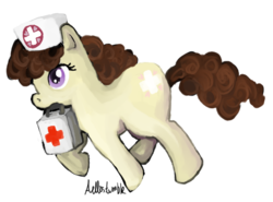 Size: 483x358 | Tagged: safe, artist:aellos, nursery rhyme, first aid kit, nurse, solo