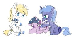 Size: 528x270 | Tagged: alicorn, artist:ujey02, bluecorn, pony, prince blueblood, princess luna, safe, simple background, sketch, twilight sparkle, younger