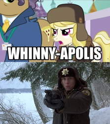Size: 926x1037 | Tagged: edit, edited screencap, fargo, female, frances mcdormand, gun, hat, human, image macro, march gustysnows, mare, marge gunderson, meme, pony, princess spike (episode), safe, screencap, snow, woman