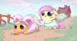Size: 4062x2139   Tagged: safe, artist:sverre93, applejack, fluttershy, earth pony, pegasus, pony, blushing, bunny costume, carrot, clothes, cute, daaaaaaaaaaaw, female, filly, fluffy, hnnng, jackabetes, open mouth, shyabetes, smiling, sverre is trying to murder us, the ass was fat, weapons-grade cute