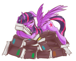 Size: 1000x800   Tagged: safe, artist:luciferamon, twilight sparkle, alicorn, pony, princess spike (episode), book, book nest, eyes closed, female, mare, princess sleeping on books, sleeping, solo, that pony sure does love books, this is my pillow now, twilight sparkle (alicorn)