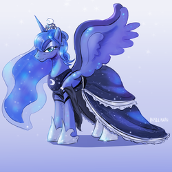 Size: 2000x2000 | Tagged: alicorn, artist:roselinath, clothes, dress, pony, princess luna, safe, solo, spread wings