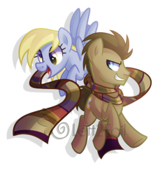 Size: 2348x2492 | Tagged: artist:drawntildawn, cute, derpy hooves, doctor whooves, fourth doctor's scarf, male, pony, safe, stallion, time turner, watermark