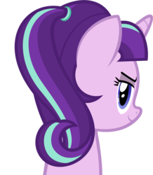 Size: 1325x1521 | Tagged: alternate hairstyle, artist:zacatron94, bust, lidded eyes, looking at you, looking back, pony, portrait, safe, simple background, smiling, solo, starlight glimmer, transparent background, unicorn, vector