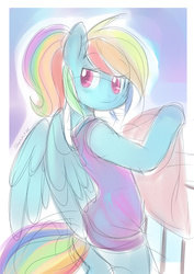 Size: 650x919 | Tagged: safe, artist:ende26, rainbow dash, semi-anthro, female, looking back, sketch, solo