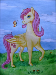Size: 1200x1600 | Tagged: safe, artist:badbananamonster, fluttershy, butterfly, flower, solo, traditional art