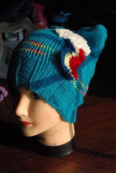 Size: 642x960 | Tagged: artist:alleykat666, commission, hat, knit, rainbow dash, rainbow dash hat, safe