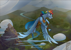 Size: 1280x905   Tagged: safe, artist:casynuf, rainbow dash, pegasus, pony, clothes, cloud, crossover, disney, disney style, female, flying, forest, greek mythology, hercules, jacket, large wings, leather jacket, mare, river, shrine, smiling, spread wings, style emulation, vertigo, wings