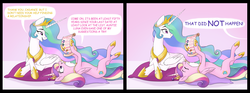 Size: 5075x1883   Tagged: safe, artist:bluefeathercat, amira, princess cadance, princess celestia, princess luna, queen chrysalis, alicorn, pony, comic, cute, cutedance, cutelestia, dialogue, duo, duo female, eyes closed, female, looking at each other, mare, on back, open mouth, pillow, princess of love, shipper on deck, smiling, tongue out