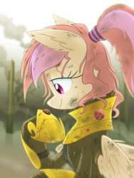 Size: 1200x1600 | Tagged: safe, artist:equestria-prevails, oc, oc only, oc:cuddle bug, ladybug, pegasus, pony, armor, blood, messy mane, solo