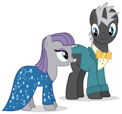 Size: 694x647 | Tagged: safe, artist:k-anon, dark moon, graphite, maud pie, make new friends but keep discord, clothes, dress, gala dress, simple background, smiling, svg, transparent background, vector, when she smiles
