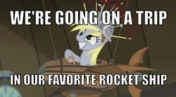 Size: 600x331 | Tagged: safe, screencap, derpy hooves, pegasus, pony, slice of life (episode), derpy being derpy, female, flying machine, image macro, little einsteins, mare, meme, muffin 1, rocket