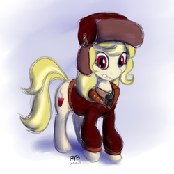 Size: 750x750 | Tagged: artist:btbunny, artist:therealedisonlight, clothes, coat, earth pony, female, hat, march gustysnows, mare, necktie, pony, princess spike (episode), safe, solo, ushanka