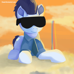Size: 2000x2000 | Tagged: safe, artist:cluud, soarin', badass, cloud, cloudsdale, cloudy, male, old cutie mark, rainbow, solo, sunglasses, sunset, wonderbolts, wonderbolts dress uniform, wonderbolts uniform