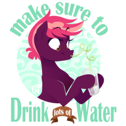 Size: 1280x1280 | Tagged: safe, artist:jitterladybug, oc, oc only, oc:razzmatazz, advice, drink, public service announcement, solo, water